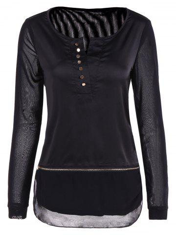 Fashion Mesh Front Button Blouse