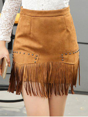 Affordable Stud Embellished Suede Fringed Skirt