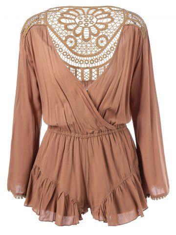 Affordable Surplice Crochet Lace Insert Ruched Romper