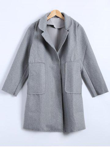 Latest Felt Lapel Coat with Pockets
