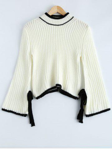 Best Bowknot Embellished Bell Sleeve Sweater