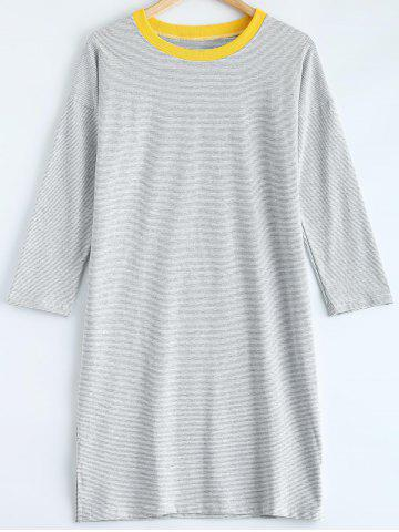 New Striped Side Slit Pullover T-Shirt Dress LIGHT GRAY 2XL