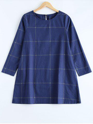 Outfit Loose Fitting A-Line Grid Print Dress PURPLISH BLUE L
