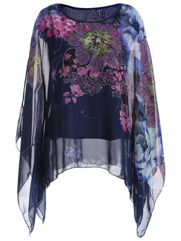 Outfits Batwing Sleeve Printed Chiffon Blouse - ONE SIZE DEEP BLUE Mobile