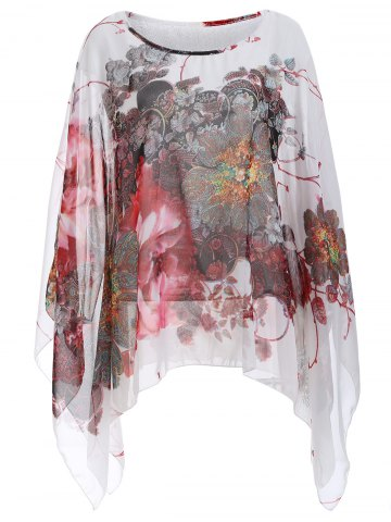 Fancy Batwing Sleeve Printed Chiffon Blouse