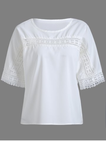 Best Hollowed Lace Splicing Blouse