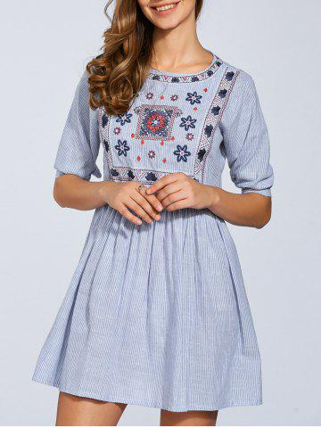 Unique Half Sleeve Embroidered Striped Dress