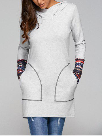 Tribal Print Long Sleeve Casual Dress With Pockets