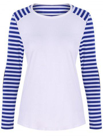 Fashion Raglan Sleeve Patched Striped T-Shirt WHITE XL