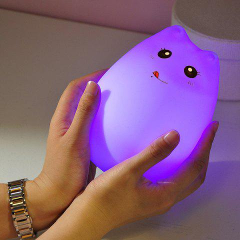 Hot Cat Cartoon LED Touching Colorful Ombre Night Light - WHITE  Mobile