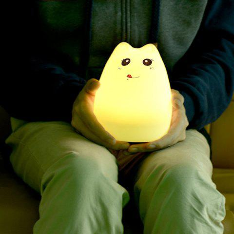Fancy Cat Cartoon LED Touching Colorful Ombre Night Light - WHITE  Mobile