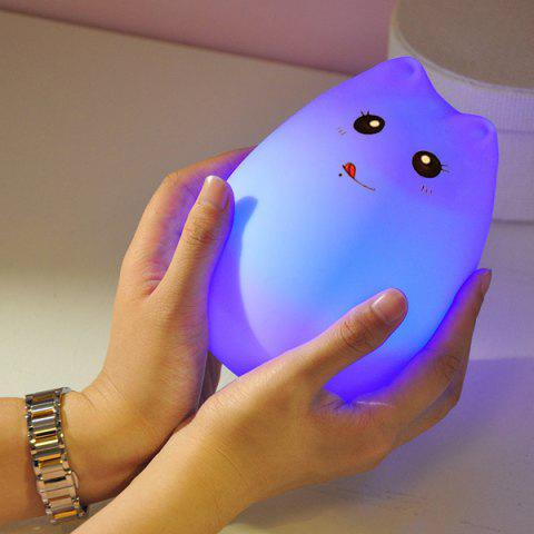 Trendy Cat Cartoon LED Touching Colorful Ombre Night Light - WHITE  Mobile