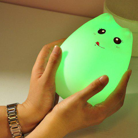 Latest Cat Cartoon LED Touching Colorful Ombre Night Light - WHITE  Mobile