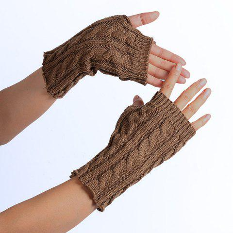 Affordable Winter Hemp Flowers Knitted Fingerless Gloves KHAKI