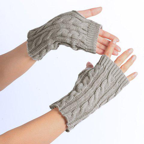 Trendy Winter Hemp Flowers Knitted Fingerless Gloves