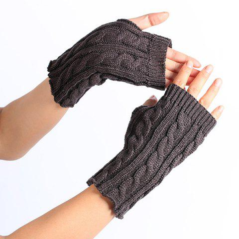 Unique Winter Hemp Flowers Knitted Fingerless Gloves DEEP GRAY