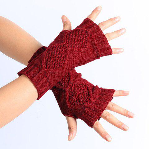 Outfits Winter Rhombus Knit Fingerless Gloves WINE RED