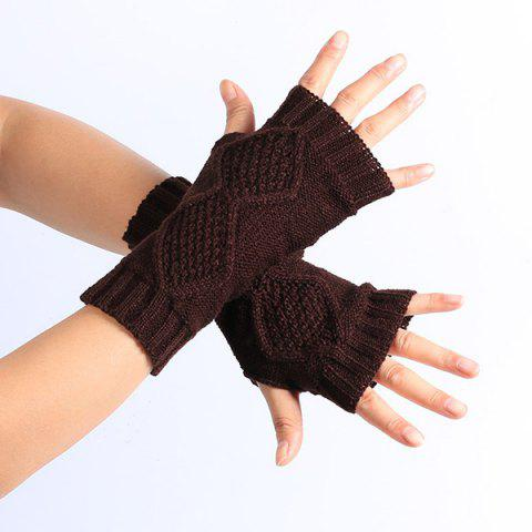 New Winter Rhombus Knit Fingerless Gloves COFFEE