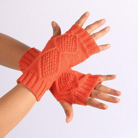 Cheap Winter Rhombus Knit Fingerless Gloves