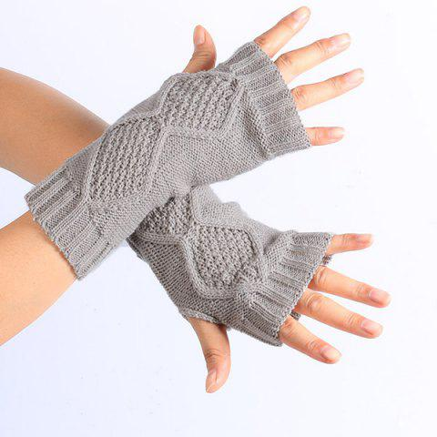 Sale Winter Rhombus Knit Fingerless Gloves - LIGHT GRAY  Mobile
