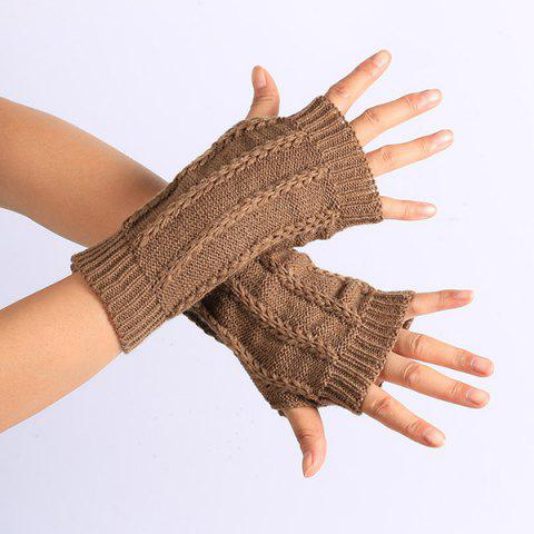 Store Pair of Stripy Crochet Fingerless Gloves