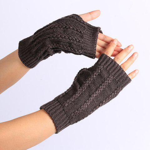 Online Pair of Stripy Crochet Fingerless Gloves DEEP GRAY