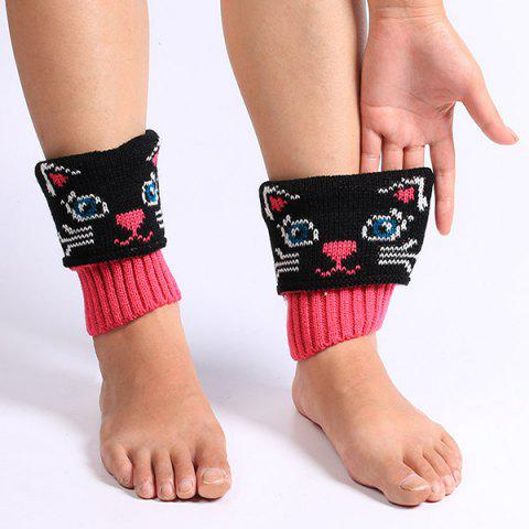 Fashion Warm Cat Pattern Knit Boot Cuffs - BLACK  Mobile