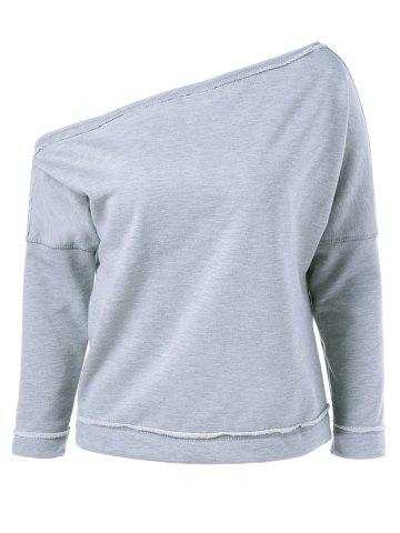 Outfit Skew Collar Topstitched Sweatshirt LIGHT GRAY ONE SIZE