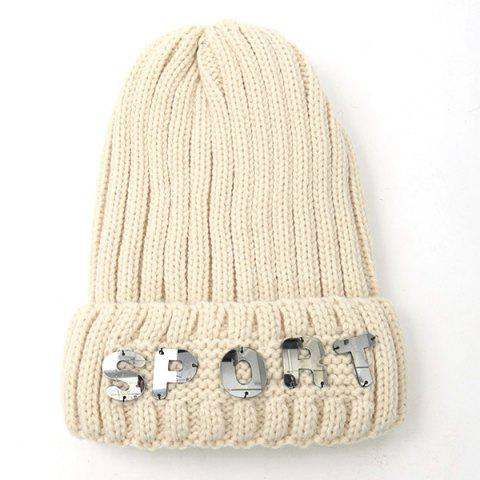 Fancy Winter Letter Flanging Knitted Hat OFF WHITE