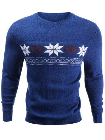 Discount V-Neck Snowflake Sweater BLUE XL