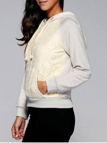Hot Lace Patchwork Drawstring Hoodie