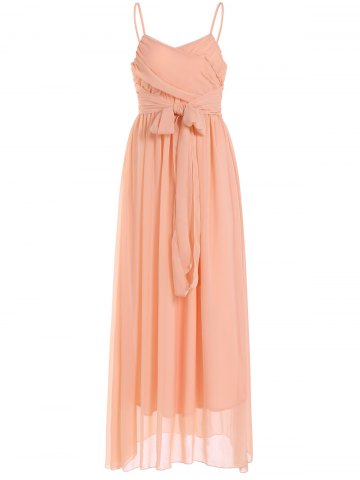Trendy Lace Up Spaghetti Strap Chiffon Maxi Bridesmaid Dress PASTER ORANGE XL