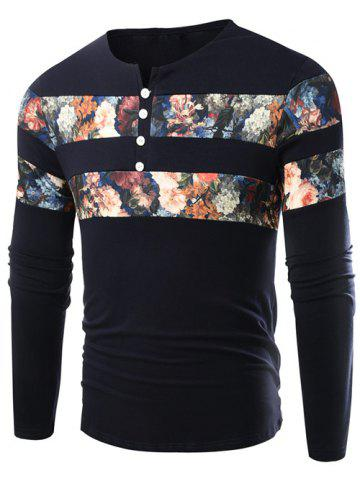 Shops Notch Neck Floral Printed T-Shirt