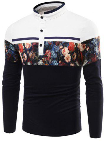 Outfit Stand Collar Floral Printed Long Sleeve T-Shirt - L PURPLISH BLUE Mobile