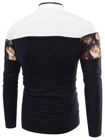 Online Stand Collar Floral Printed Long Sleeve T-Shirt - L PURPLISH BLUE Mobile