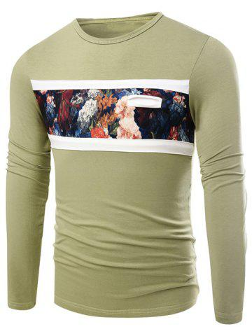 Hot Round Neck Floral Print Long Sleeve T-Shirt GREEN 3XL