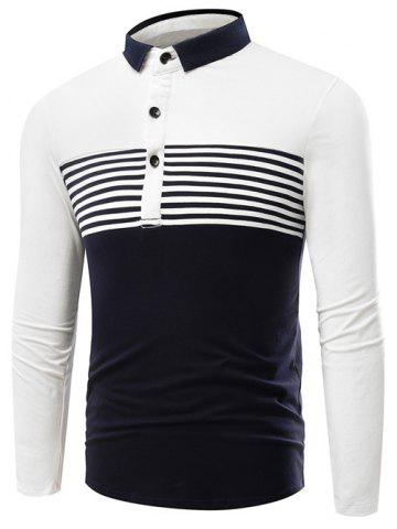 New Striped Color Block Polo Shirt WHITE 3XL