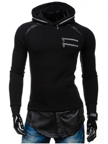 Zipper Embelllished PU Spliced Faux Twinset Hoodie - Black - M