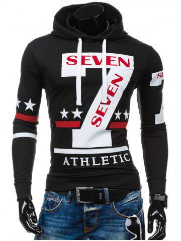 Slim-Fit 7 Printed Hoodie - Black - L