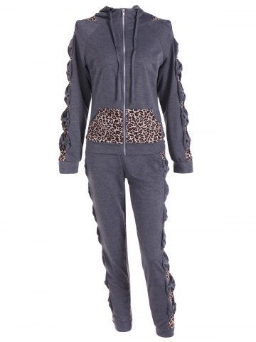 New Leopard Printed Pants and Zip Up Hooded Top