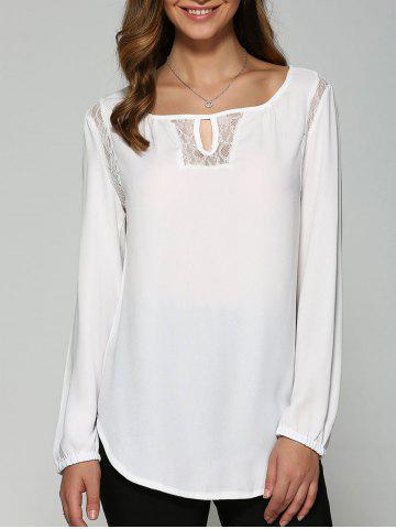 Affordable Lace High Low Cutwork Blouse WHITE XL