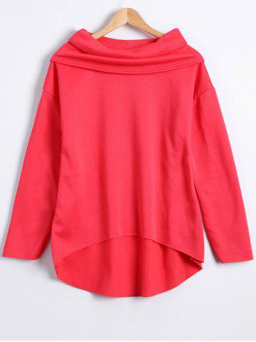 Chic Autumn Funnel Neck High Low T-Shirt