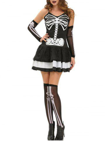 Latest Halloween Skeleton Layered Cami Dress Costume BLACK S
