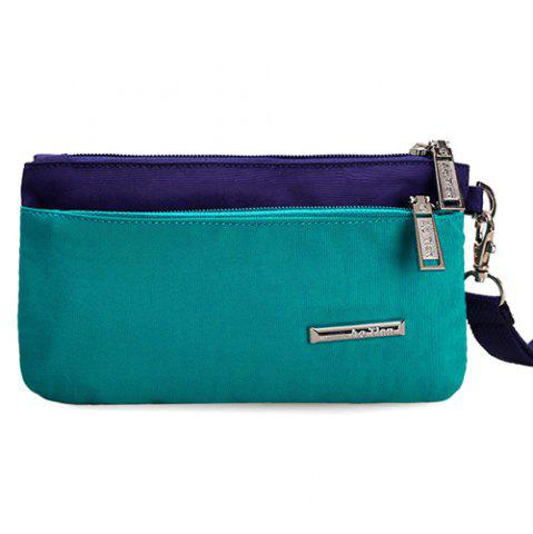 Outfit Metal Color Spliced Zippers Clutch Bag - LAKE GREEN  Mobile
