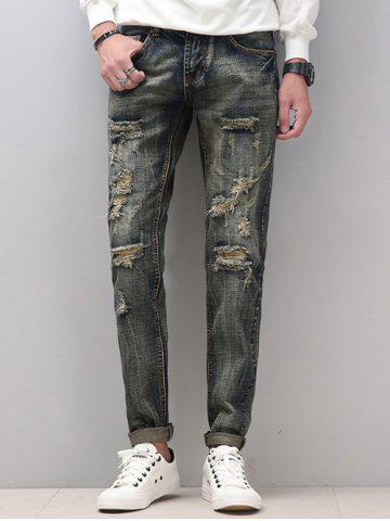 Fancy Zipper Fly Narrow Feet Cat's Whisker Distressed Jeans