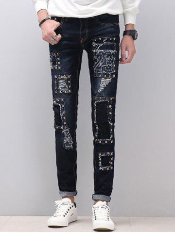 Outfit Zipper Fly Stud Embellished Skinny Distressed Jeans