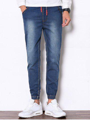 Drawstring Faded Denim Jogger Pants - Deep Blue - M