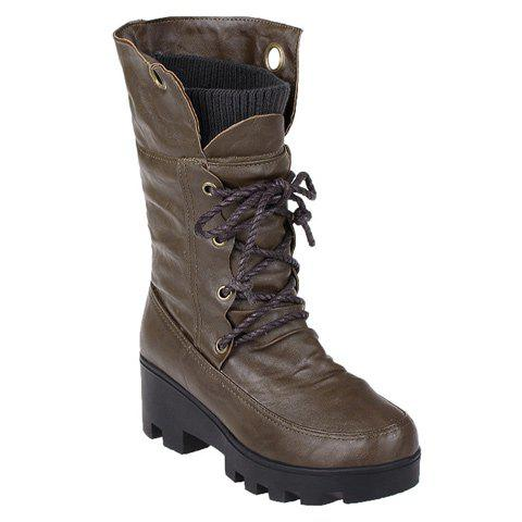 New Wedge Tie Up Mid Calf Boots