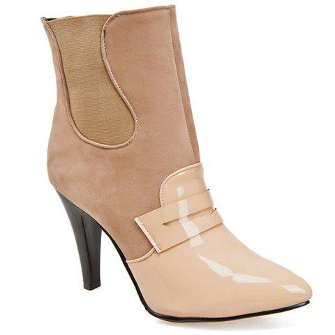 Trendy Elastic Band Spliced Pointed Toe Ankle Shoes APRICOT 37