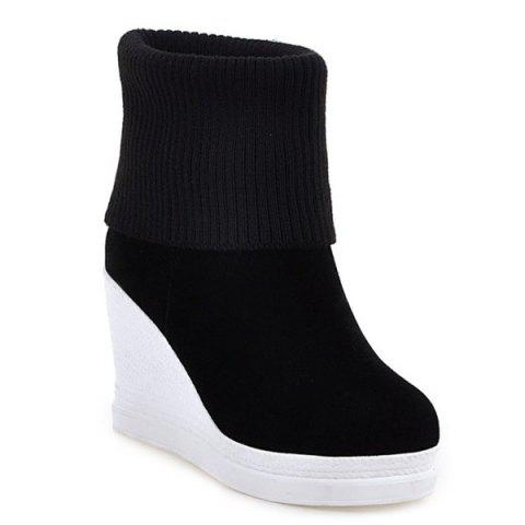 Buy Fold Over Wedge Suede Knit Sweater Ankle Boots